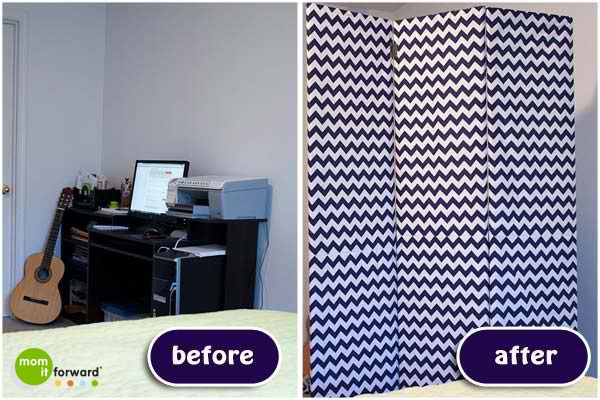 How to Make a Chevron Room Divider or Dressing Screen - Before and After