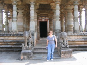 Sandra Bornstein visiting 12th century Hoysala Temples outside Bangalore, India