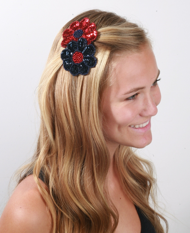 school colors double flower clip