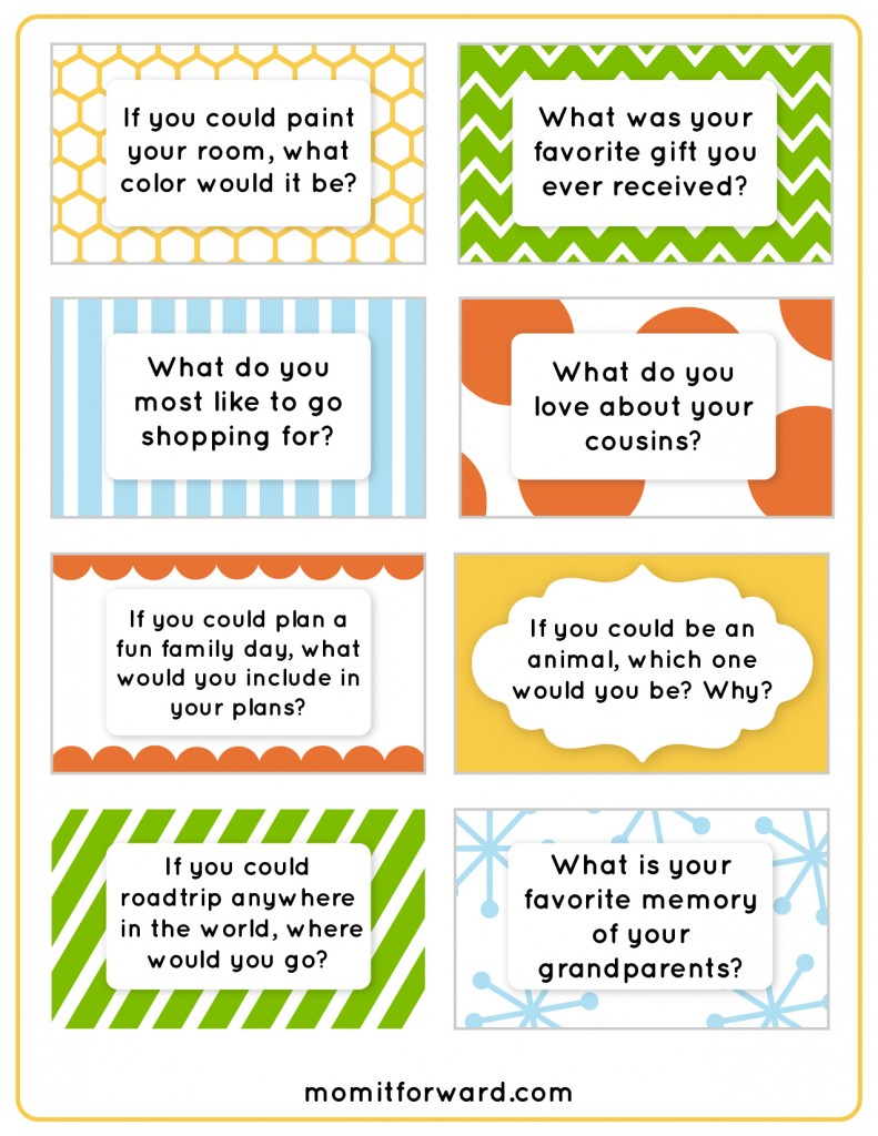 Family Dinner Discussion Cards