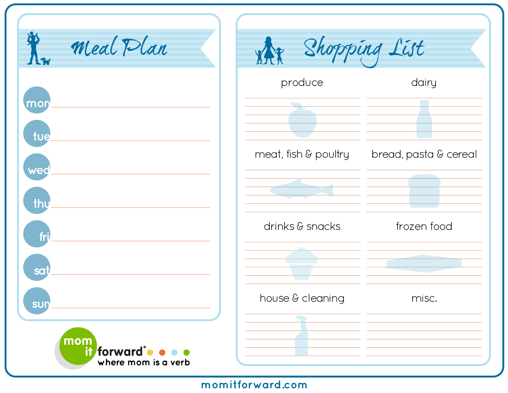 Worksheets Meal Planning Worksheet meal plan worksheet printable mom it forwardmom forward