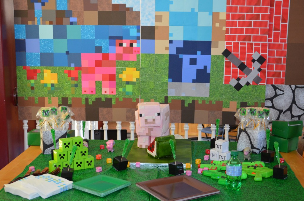 minecraft party decaration cake ideas and designs. Black Bedroom Furniture Sets. Home Design Ideas