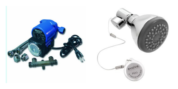 Left: A hot water recirculating pump by Watts. Right: A low flow shower head by Evolve; 1.5 gpm with a water saving switch