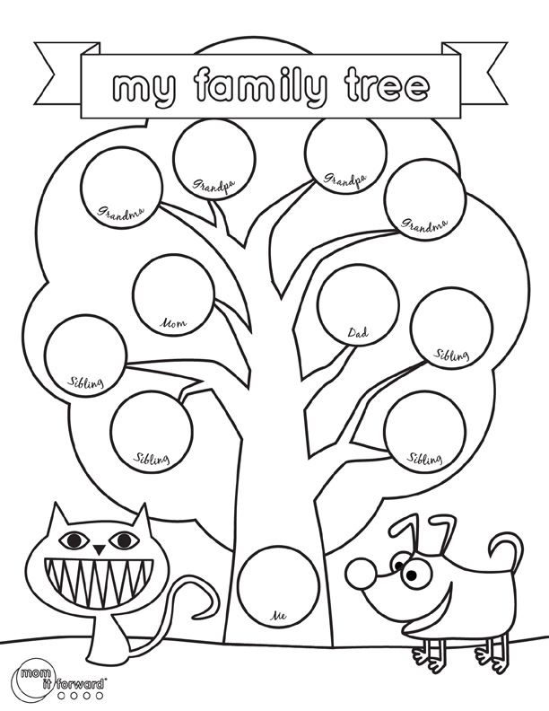 Family history printables archives mom it forward for Preschool family tree template