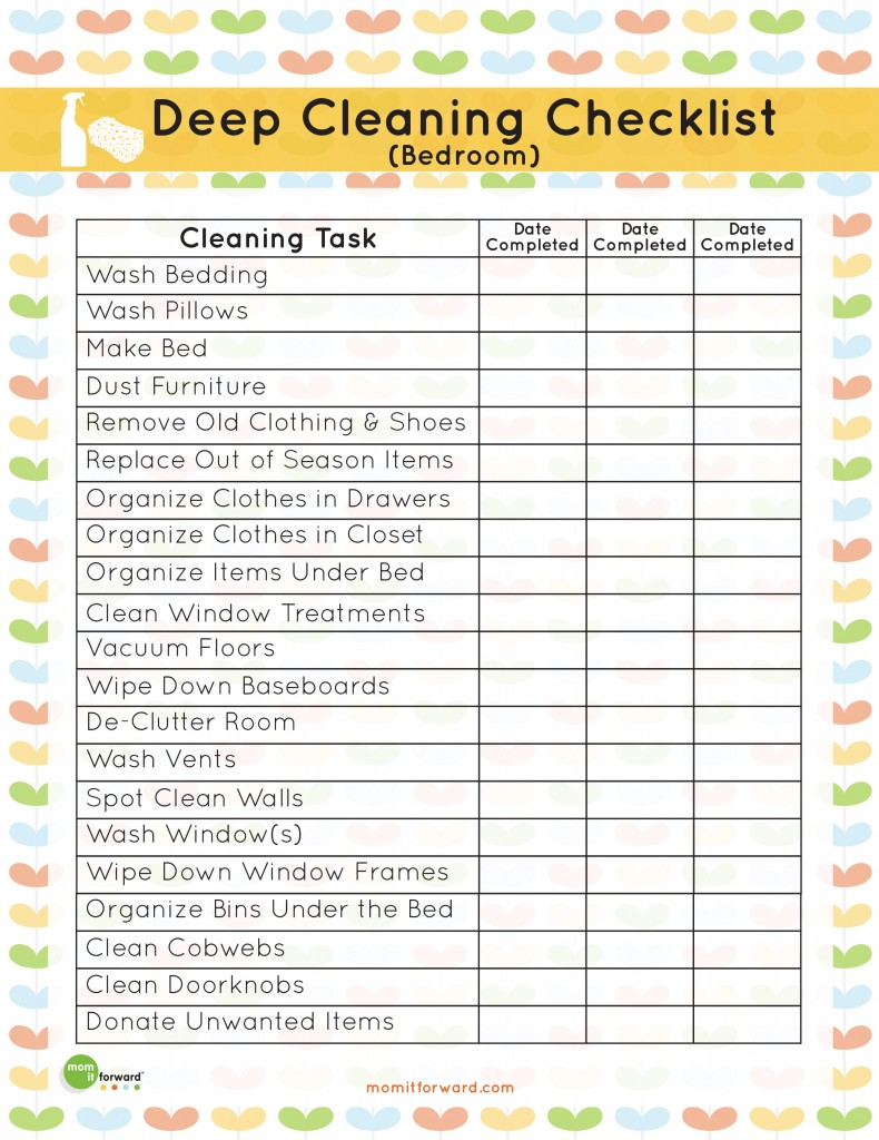 Printable: Deep Cleaning Bedroom Checklist - Mom it Forward
