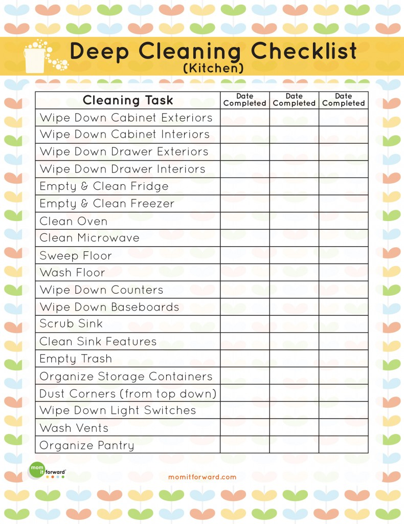 Printable kitchen cleaning checklist mom it forward for Commercial kitchen cleaning checklist template