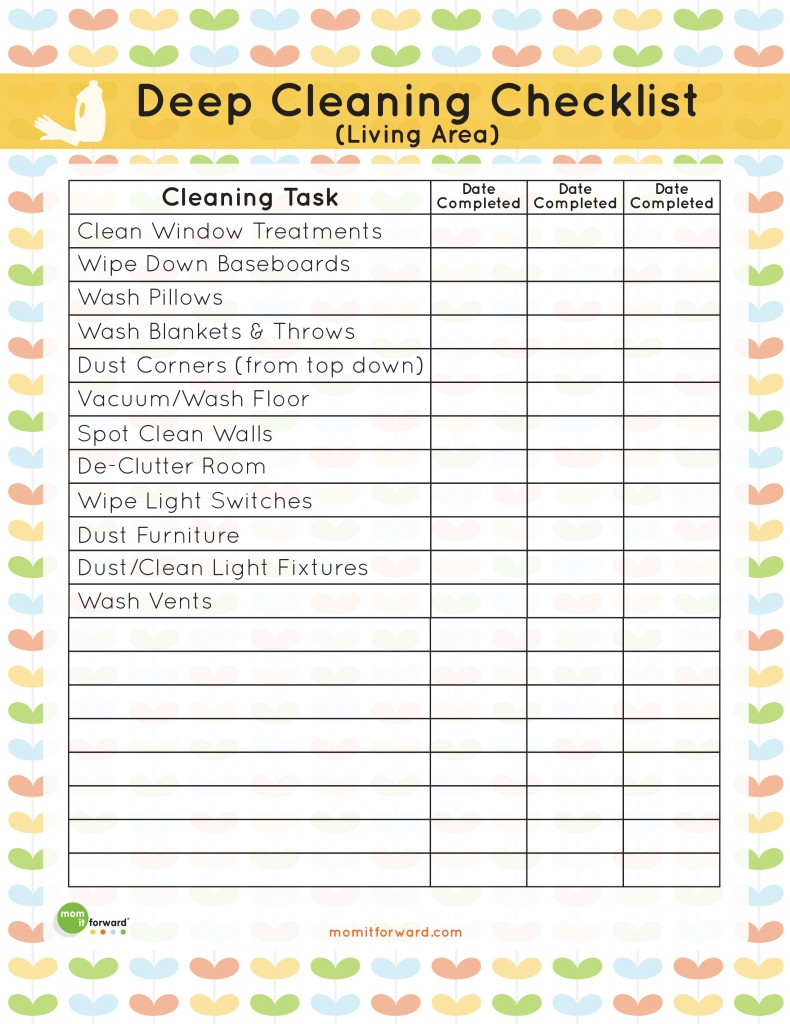 Printable Living Area Deep Cleaning Checklist Mom It