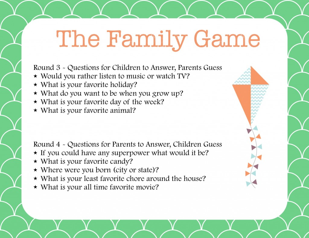The Family Game Printable