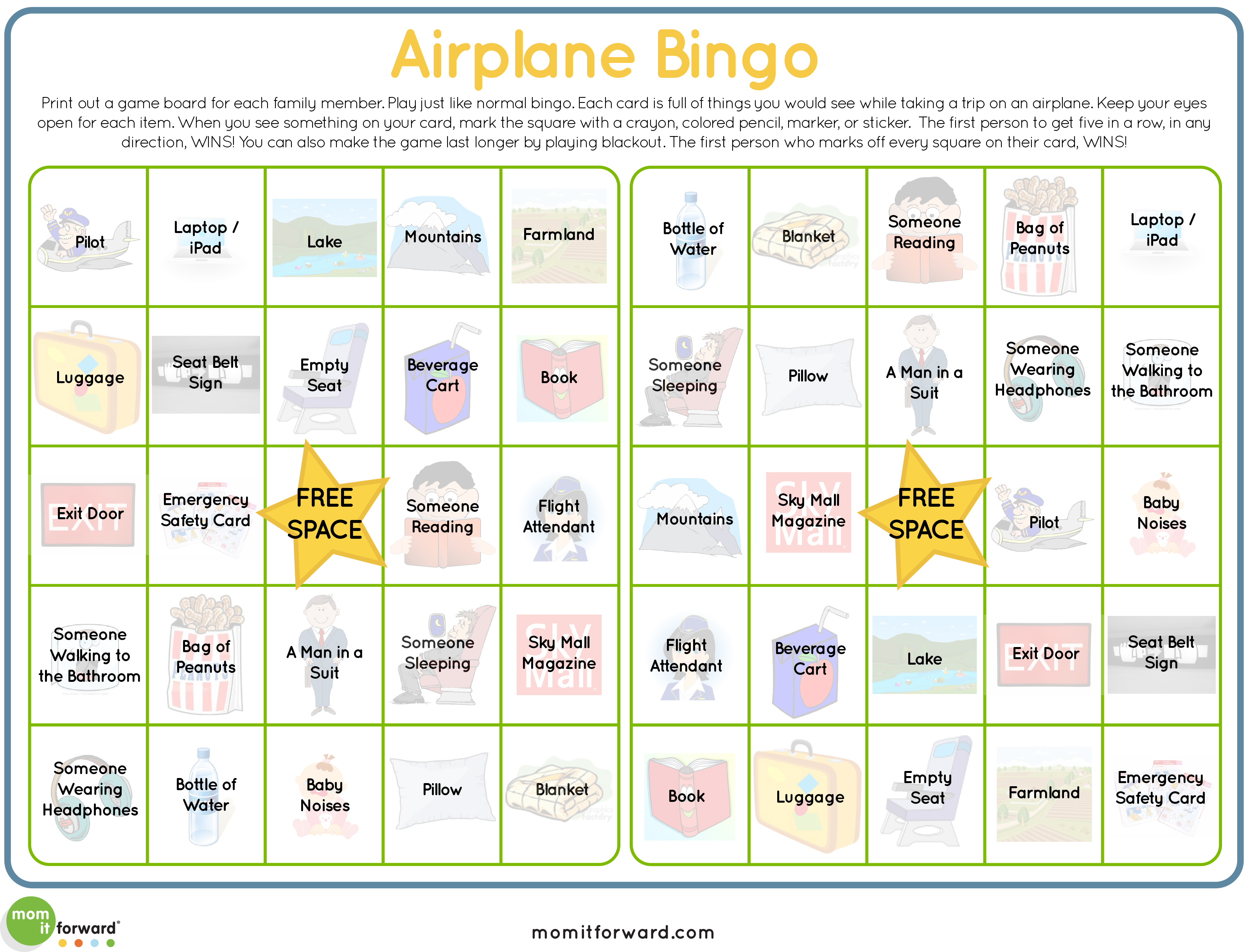 Airplane Bingo Printable Mom It Forwardmom It Forward