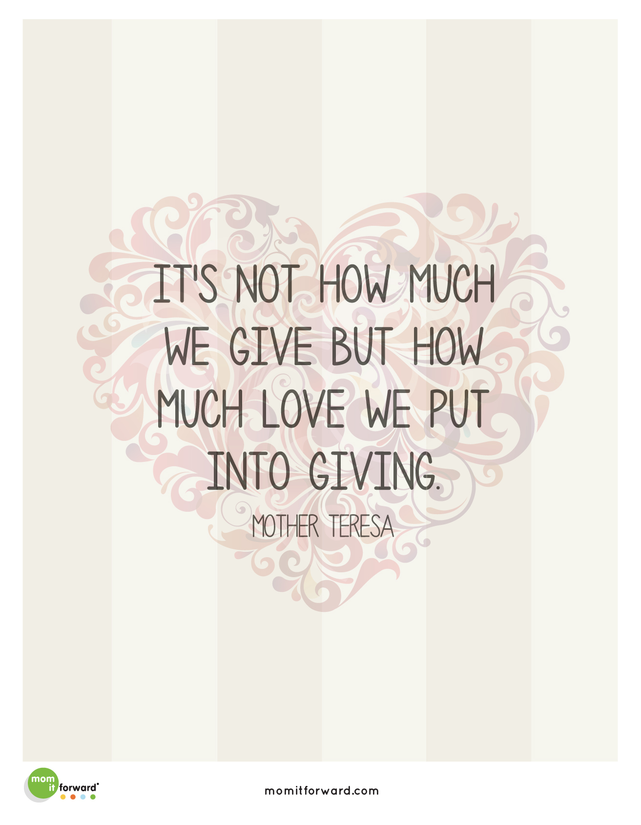Quotes About A Mother's Love Mother Teresa Giving Quote  Mom It Forwardmom It Forward