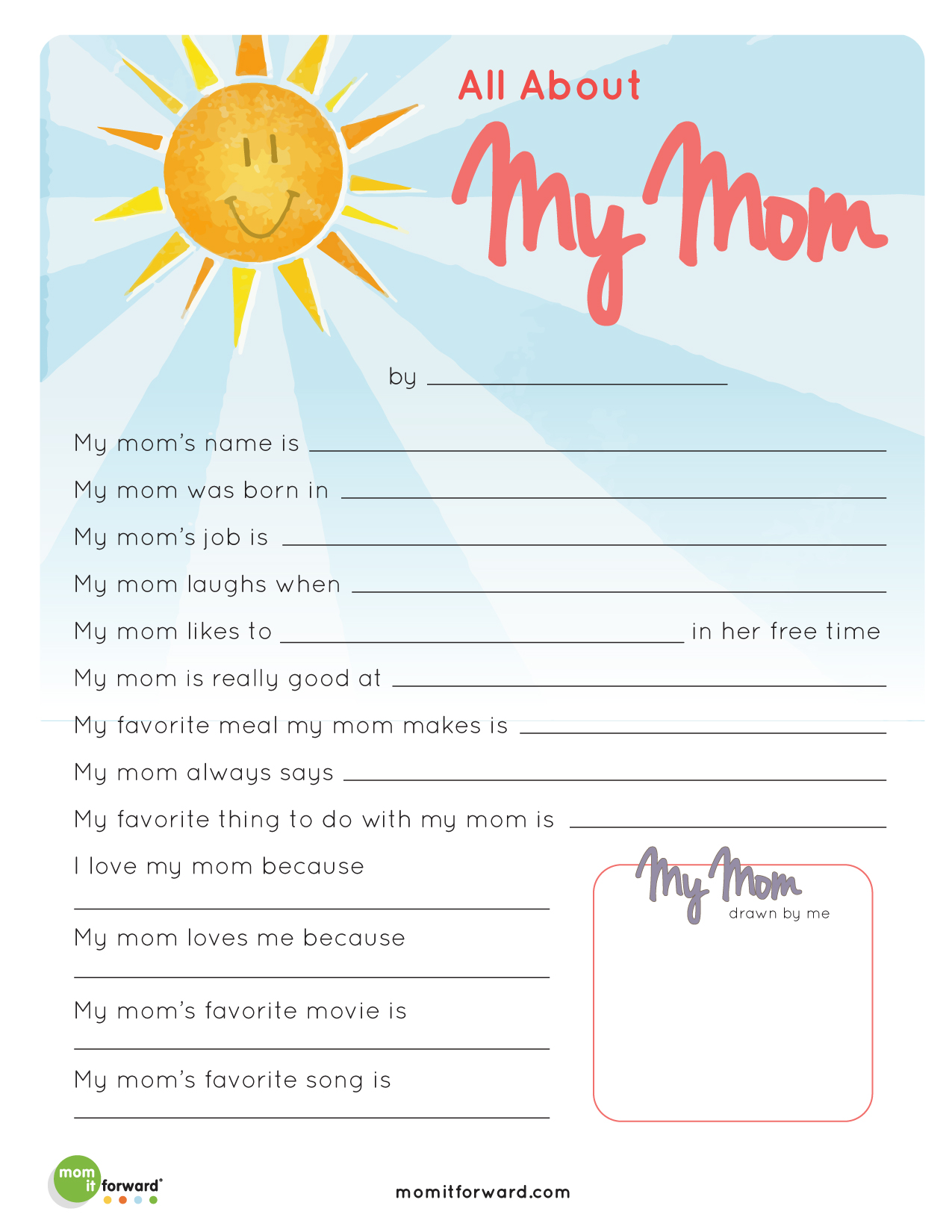 Mother's Day: All About My Mom Printable - Mom it ForwardMom it ...