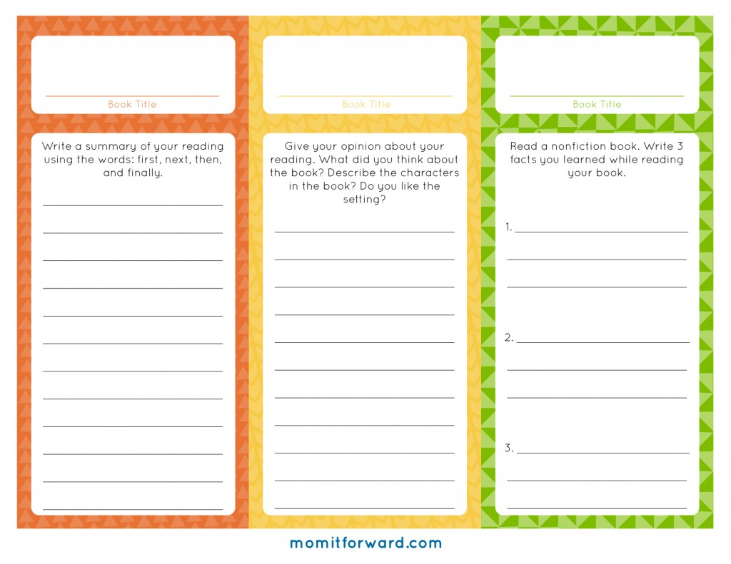 Reading Log Bookmark Printables - Mom it Forward
