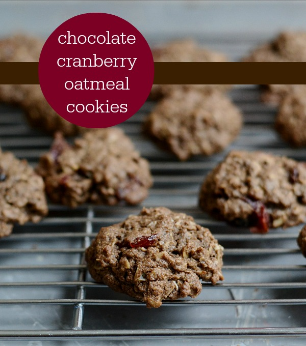 Chocolate Cranberry Oatmeal Cookies from Untrained Housewife - Great healthy snacks!