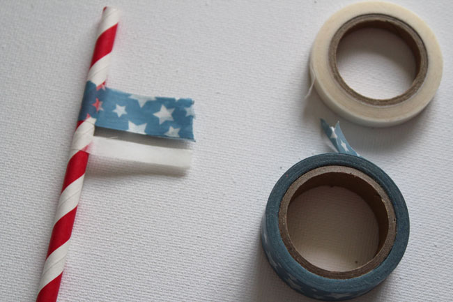 Put washi tape on straw to decorate it and make a fun flag