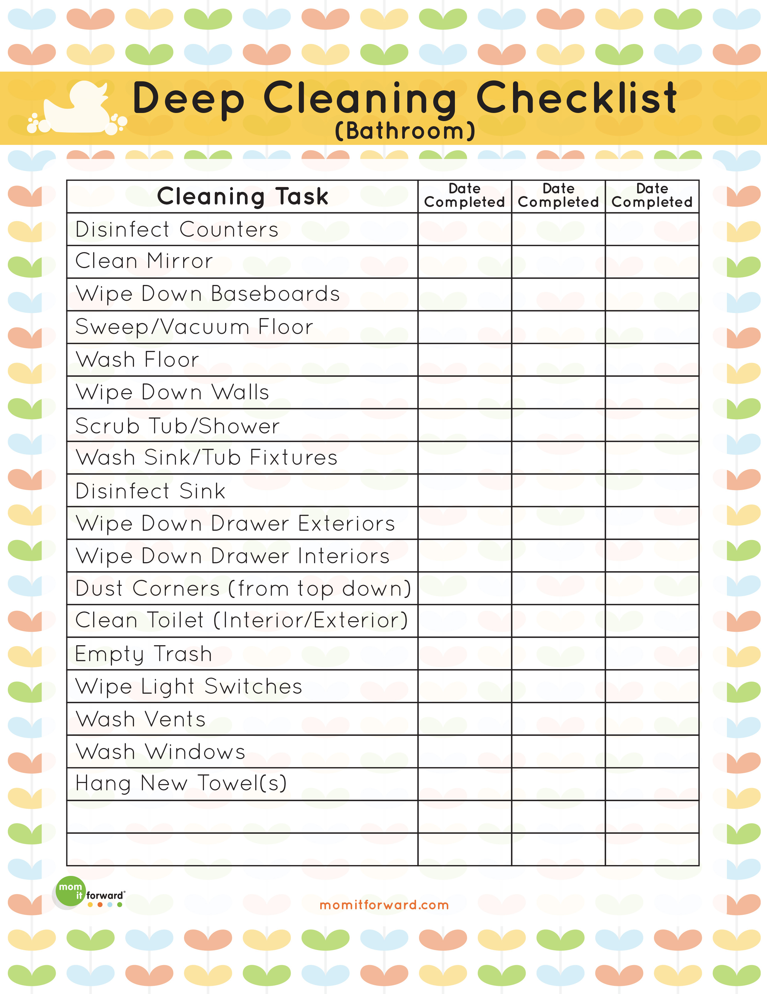 Printable Bathroom Deep Cleaning List Mom It Forwardmom